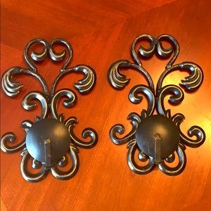 Black/bronze candle sconces, set of two